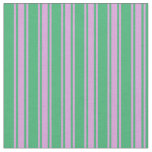 [ Thumbnail: Sea Green and Plum Stripes/Lines Pattern Fabric ]