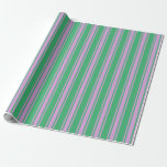 [ Thumbnail: Sea Green and Plum Stripes/Lines Pattern Wrapping Paper ]