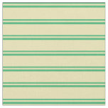 [ Thumbnail: Sea Green and Tan Colored Lines Fabric ]