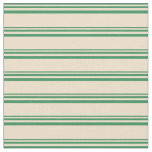 [ Thumbnail: Sea Green and Tan Colored Pattern of Stripes Fabric ]