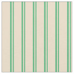 [ Thumbnail: Sea Green and Tan Stripes Pattern Fabric ]