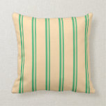 [ Thumbnail: Sea Green and Tan Stripes Pattern Throw Pillow ]