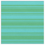 [ Thumbnail: Sea Green and Turquoise Lined Pattern Fabric ]
