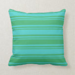 [ Thumbnail: Sea Green and Turquoise Lined Pattern Throw Pillow ]