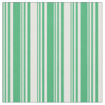 [ Thumbnail: Sea Green and White Colored Stripes Pattern Fabric ]