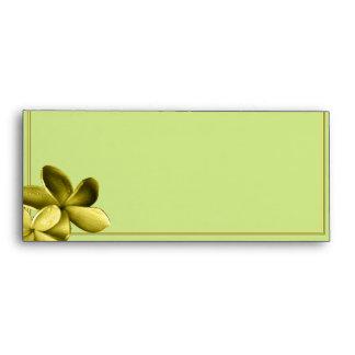 Sea Green and Yellow Plumeria Envelope