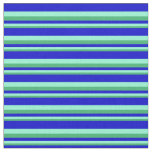 [ Thumbnail: Sea Green, Aquamarine, and Blue Lines Fabric ]