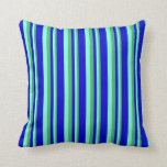 [ Thumbnail: Sea Green, Aquamarine, and Blue Lines Throw Pillow ]
