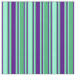 [ Thumbnail: Sea Green, Aquamarine, and Indigo Stripes Fabric ]