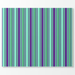 [ Thumbnail: Sea Green, Aquamarine, and Indigo Stripes Wrapping Paper ]