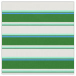 [ Thumbnail: Sea Green, Aquamarine, Mint Cream, Green & Blue Fabric ]