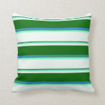 [ Thumbnail: Sea Green, Aquamarine, Mint Cream, Green & Blue Throw Pillow ]