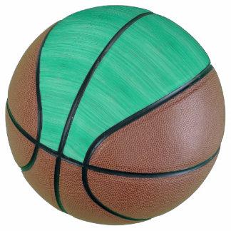 Sea Green Bamboo Wood Grain Look Basketball