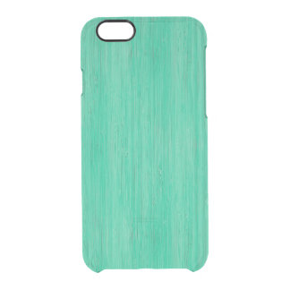 Sea Green Bamboo Wood Grain Look Clear iPhone 6/6S Case