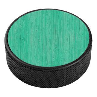 Sea Green Bamboo Wood Grain Look Hockey Puck