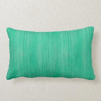 Sea Green Bamboo Wood Grain Look Lumbar Pillow