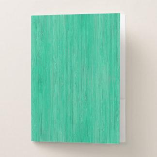 Sea Green Bamboo Wood Grain Look Pocket Folder