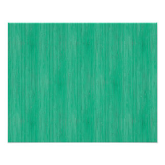 Sea Green Bamboo Wood Grain Look Poster