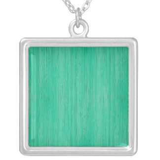 Sea Green Bamboo Wood Grain Look Silver Plated Necklace