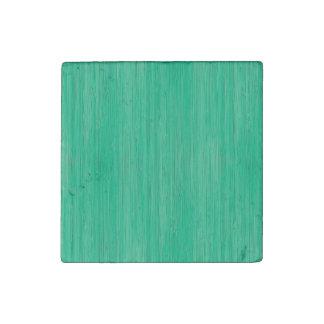 Sea Green Bamboo Wood Grain Look Stone Magnet
