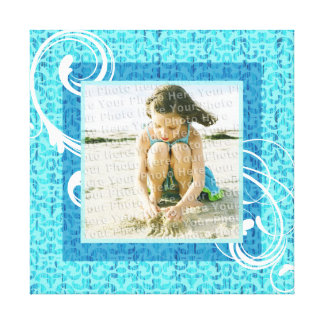 Sea Green Beach Vacation Memories Photo Frame Stretched Canvas Print