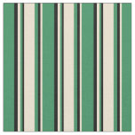 [ Thumbnail: Sea Green, Beige & Black Colored Lines Fabric ]
