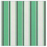[ Thumbnail: Sea Green, Beige & Black Lined Pattern Fabric ]