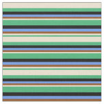 [ Thumbnail: Sea Green, Beige, Brown, Cornflower Blue & Black Fabric ]