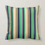 [ Thumbnail: Sea Green, Beige, Brown, Cornflower Blue & Black Throw Pillow ]