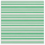 [ Thumbnail: Sea Green & Beige Colored Stripes/Lines Pattern Fabric ]