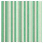 [ Thumbnail: Sea Green & Beige Stripes Pattern Fabric ]