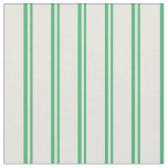 [ Thumbnail: Sea Green & Beige Stripes Pattern Fabric ]