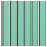 [ Thumbnail: Sea Green, Bisque, Black & Aquamarine Stripes Fabric ]