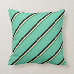 [ Thumbnail: Sea Green, Bisque, Black & Aquamarine Stripes Throw Pillow ]