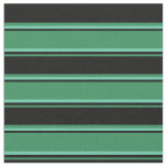 [ Thumbnail: Sea Green, Black, and Aquamarine Stripes Pattern Fabric ]