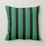 [ Thumbnail: Sea Green, Black, and Aquamarine Stripes Pattern Throw Pillow ]
