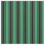 [ Thumbnail: Sea Green & Black Pattern of Stripes Fabric ]