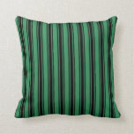 [ Thumbnail: Sea Green & Black Pattern of Stripes Throw Pillow ]