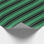 [ Thumbnail: Sea Green & Black Pattern of Stripes Wrapping Paper ]