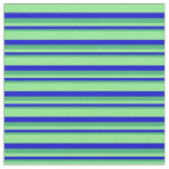 [ Thumbnail: Sea Green, Blue, and Light Green Colored Stripes Fabric ]