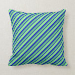 [ Thumbnail: Sea Green, Blue, and Light Green Colored Stripes Throw Pillow ]