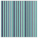 [ Thumbnail: Sea Green, Blue, Black & White Stripes Pattern Fabric ]
