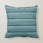 [ Thumbnail: Sea Green, Blue, Black & White Stripes Pattern Throw Pillow ]