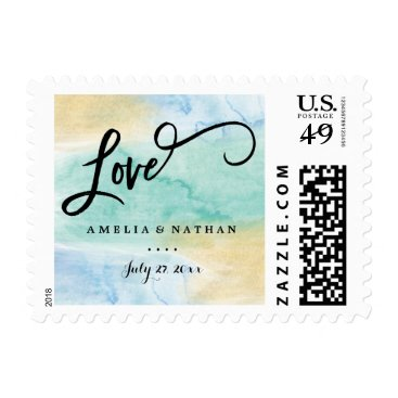 Beach Themed Sea Green Blue Gold Watercolor Wedding Stamp