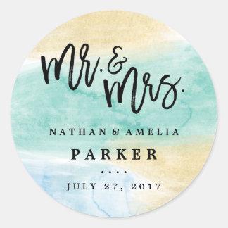 Sea Green Blue Gold Watercolor Wedding Sticker