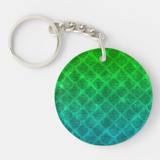 Sea Green Blue Ornate Damask Grunge Texture Design Double-Sided Round Acrylic Keychain