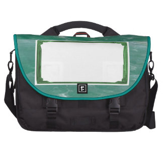 Sea Green Border Image / Text Holder Bags For Laptop