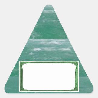 Sea Green Border Image / Text Holder Triangle Sticker