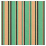 [ Thumbnail: Sea Green, Brown, and Black Stripes Fabric ]