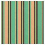 [ Thumbnail: Sea Green, Brown, and Black Stripes Fabric ]
